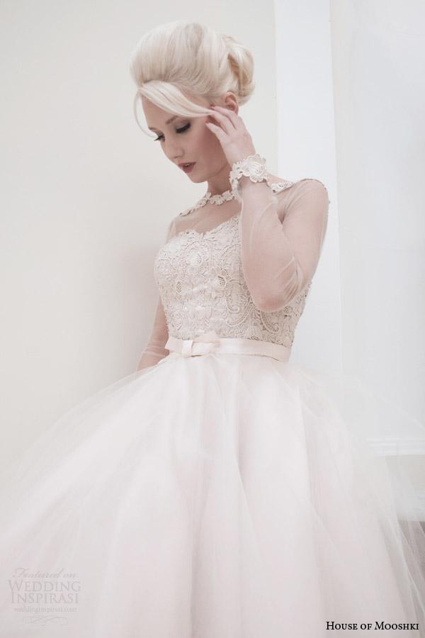 casa de mooshki cair 2014 vestido de noiva comprimento chá lírio corar de perto corpete de manga longa