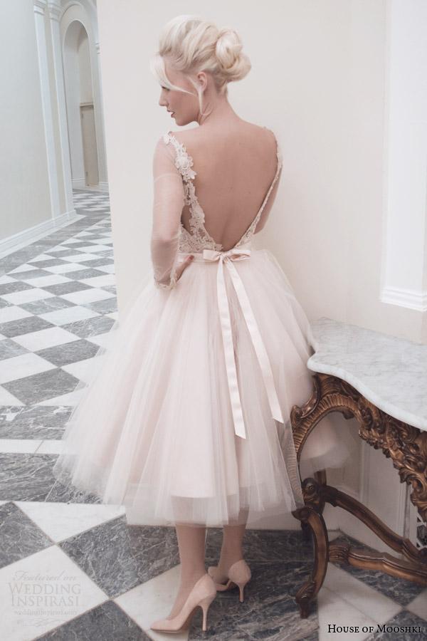 house of mooshki fall 2014 lily blush tea length wedding dress v back