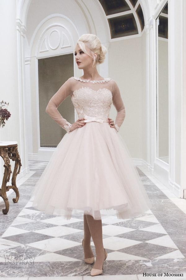 casa de mooshki cair 2014 vestido de noiva comprimento chá lírio corar