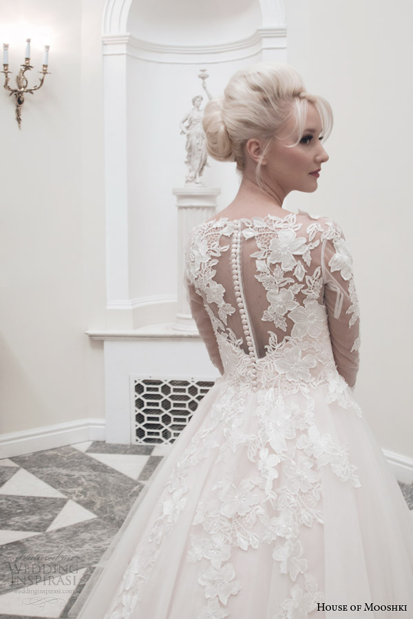 house of mooshki tea length wedding dress fall 2014 charlotte long sleeve gown illusion back close up