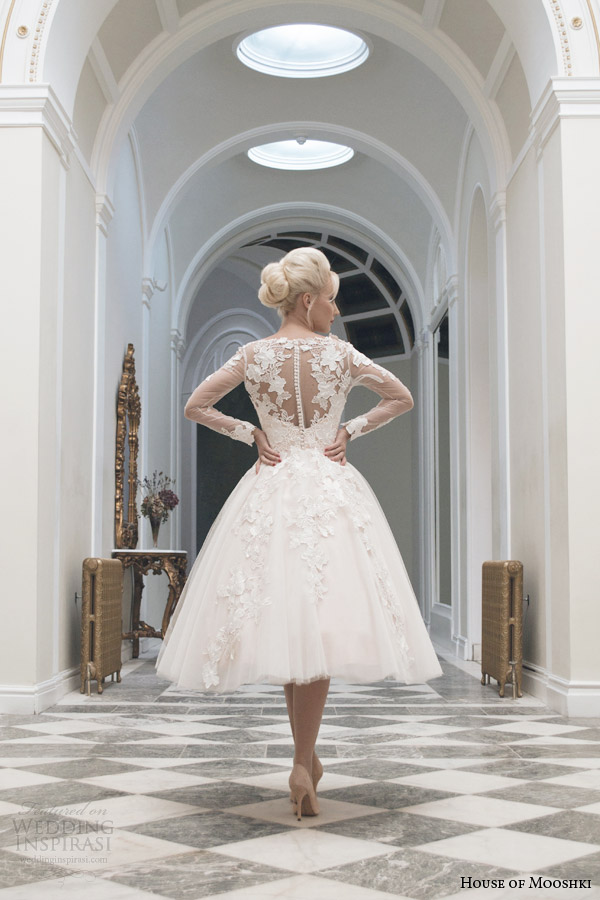 house of mooshki tea length wedding dress fall 2014 charlotte long sleeve gown illusion back view
