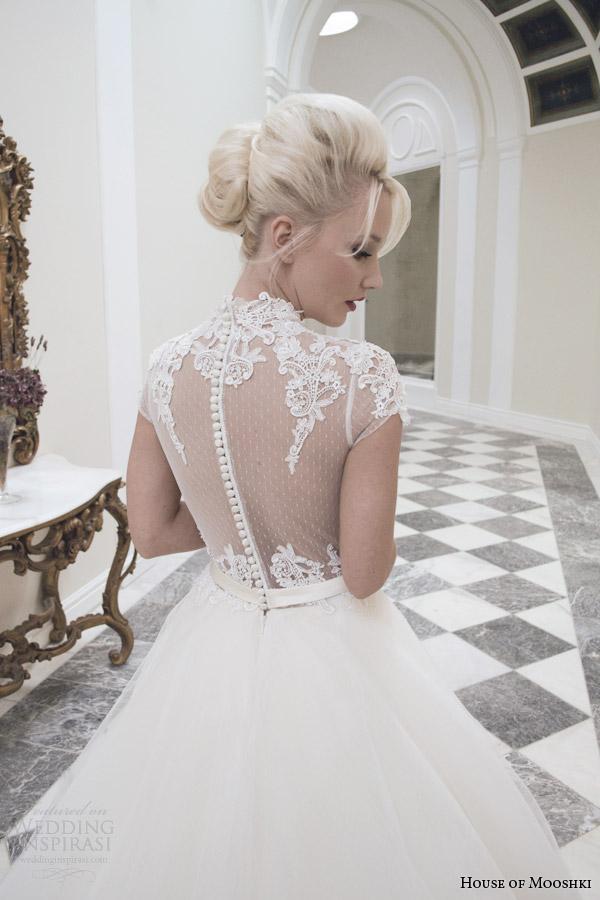 house of mooshki wedding dresses fall autumn 2014 bridal ava ball gown illusion back close up