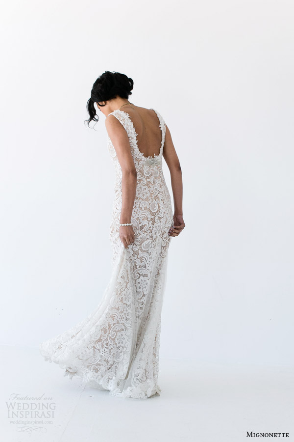 mignonette bridal spring 2014 batten sleeveless lace gown back view