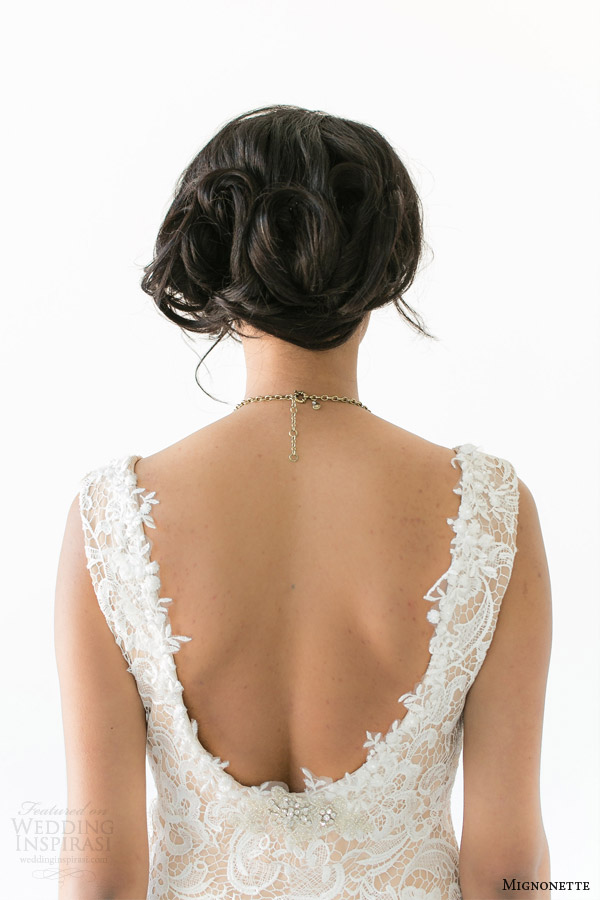 mignonette bridal spring 2014 batten sleeveless lace gown close up back view
