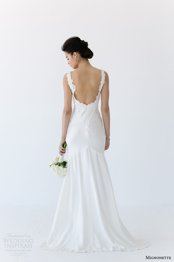 mignonette bridal spring 2014 renee wedding dress lace straps back view
