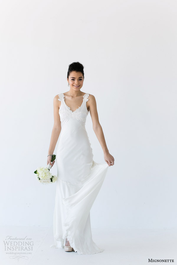 mignonette bridal spring 2014 renee wedding dress lace straps