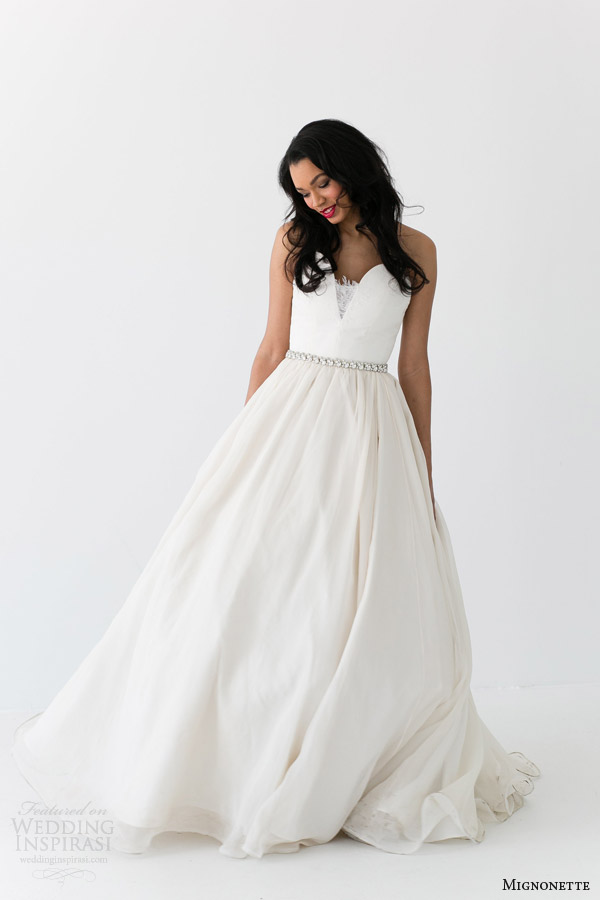 mignonette bridal spring 2014 sarah elizabeth strapless wedding dress full shot