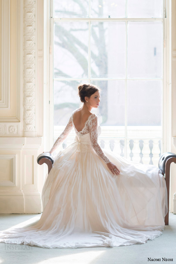 naomi neoh bridal 2014 fleur wedding dress long sleeve back view