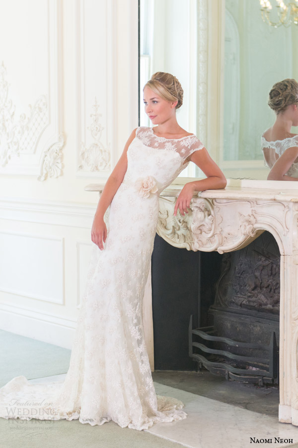 naomi neoh wedding dresses 2014 penelope wedding dress scalloped neckline cap sleeves