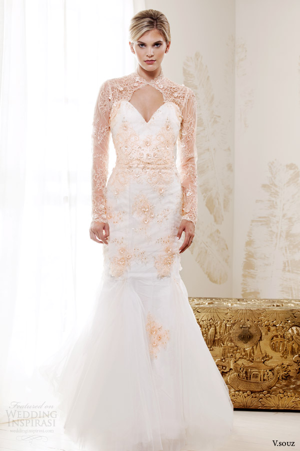 v souz 2014 bridal grace kelly wedding dress mermaid skirt peach lace long sleeves