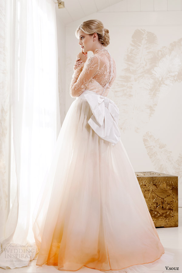v souz bridal 2014 grace kelly long sleeve peach lace wedding dress side view bow