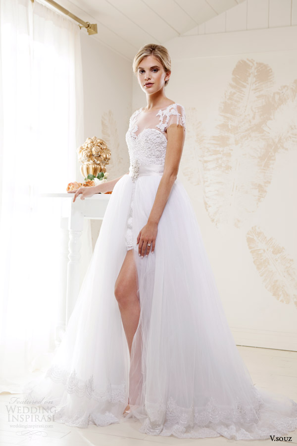 v souz bridal 2014 kate short lace wedding dress full length over skirt