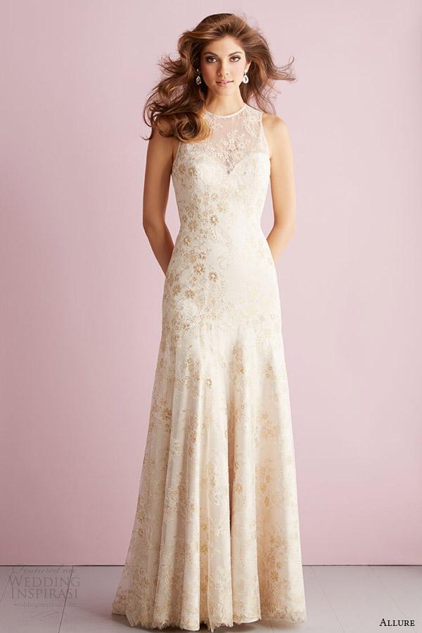 bridals fascínio fascínio primavera romance vestido de noiva 2014 sleeveles vestido estilo de multi tom de renda 2714