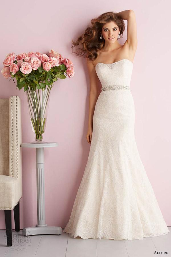 Primavera fascínio Romance 2014 strapless casamento vestido estilo 2703