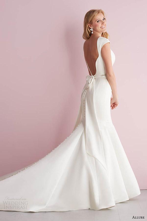 primavera vestido de noiva fascínio Romance 2014 cap manga estilo sereia vestido 2717 scalloped aberto para trás