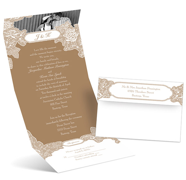 anns bridal bargains photo wedding invitation card romantic details