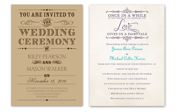 anns bridal bargains vintage style typography on kraft bridal charmed invitation card