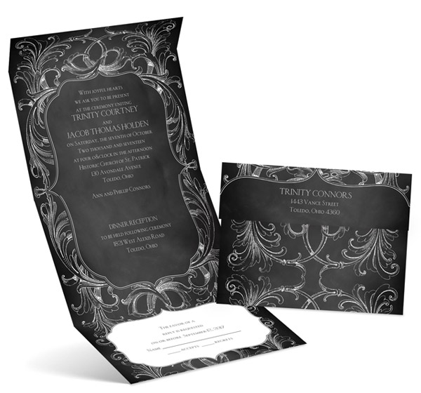 anns bridal bargains wedding invitation cards chalkboard flourish