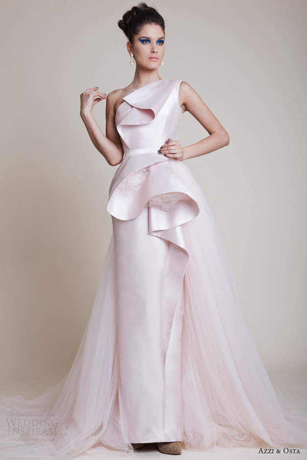 Couture Wedding Dresses Brigg : Azzi and osta couture dresses spring pale pink one shoulder gown