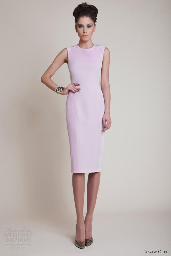 Azzi e vestidos de alta costura primavera verão 2014 Osta mangas vestido curto rosa pálido