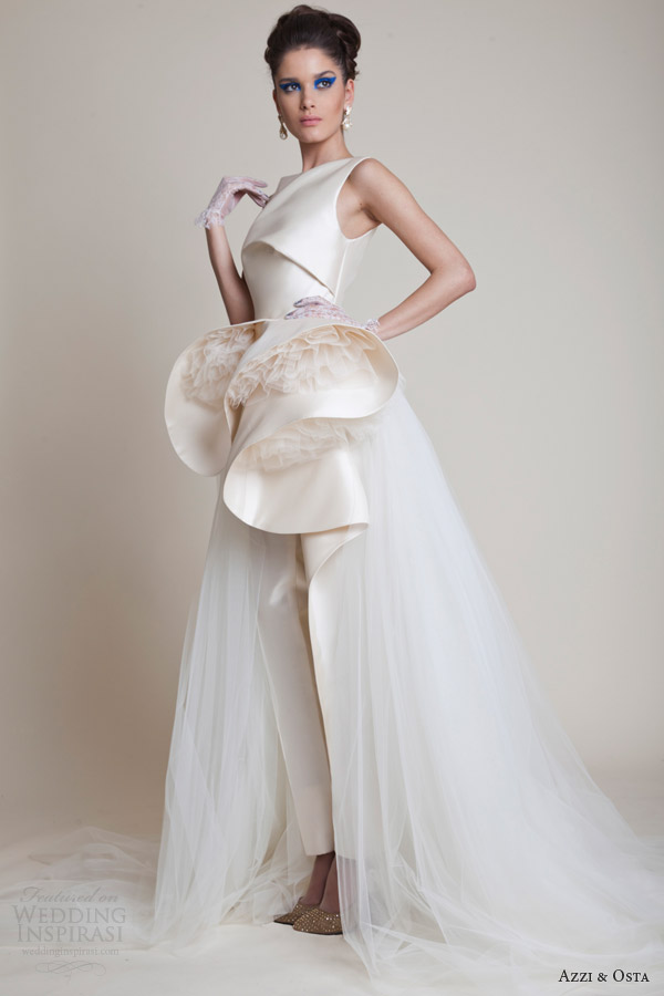 Azzi osta spring 2014 couture collection wedding inspirasi - Jumpsuit hochzeit ...
