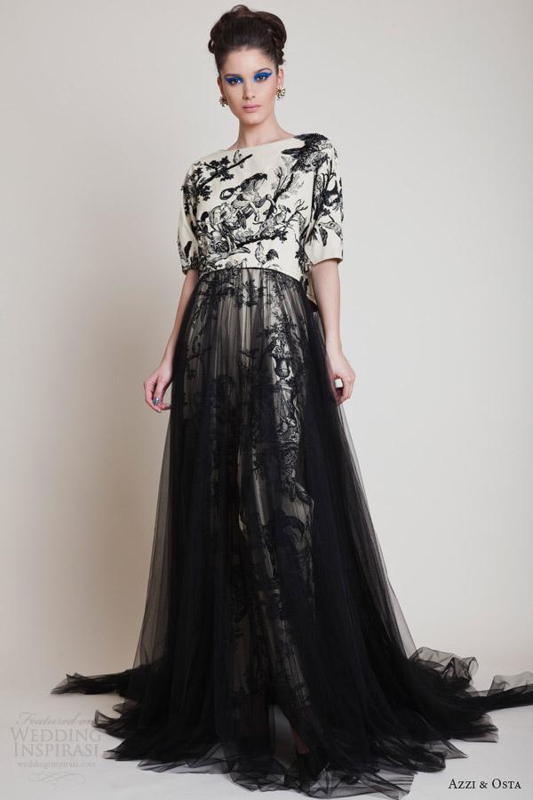 Azzi e osta primavera 2014 strapless costura impressão preto vestido de tule saia