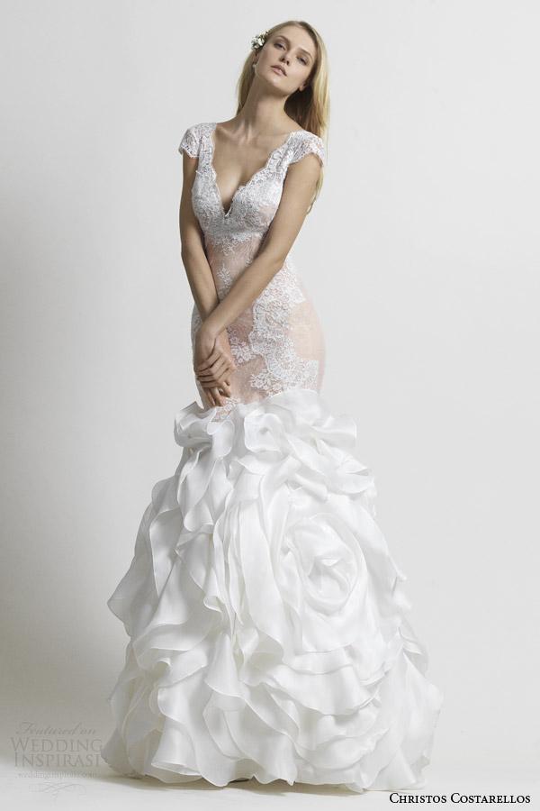 christos costarellos bridal 2014 cap sleeve mermaid wedding dress