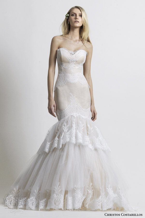 Christos Costarellos Bridal 2014 Strapless Mermaid Wedding Dress