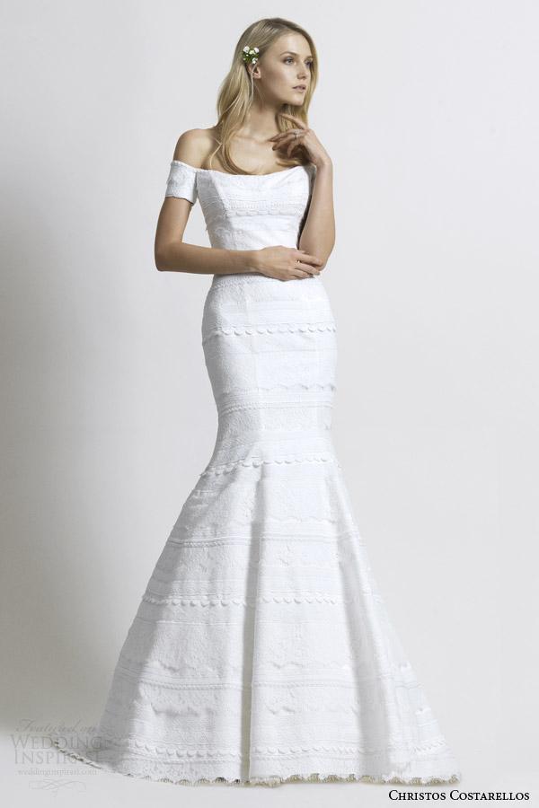Christos costarellos 2014 wedding dresses wedding for Mermaid off shoulder wedding dress