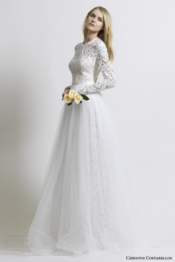Christos costarellos 2014 wedding dresses wedding inspirasi for Tulle skirt wedding dresses