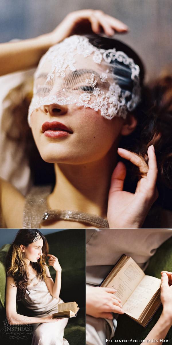 atelier encantado liv Hart 2015 bridal acessórios véu de renda máscara peruca
