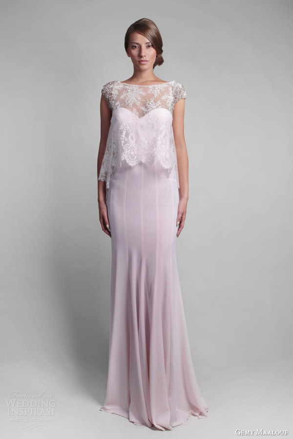 gemy maalouf couture spring 2014 pale pink wedding dress