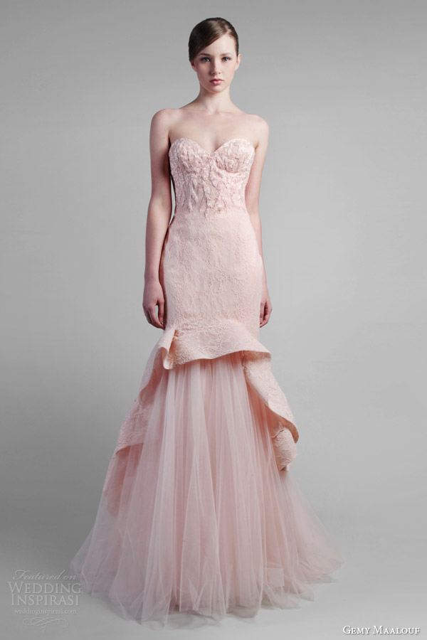 gemy maalouf couture spring 2014 strapless pink mermaid gown