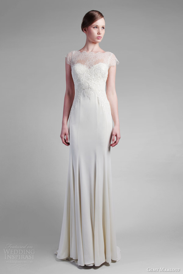gemy maalouf spring 2014 couture cap sleeve lace dress