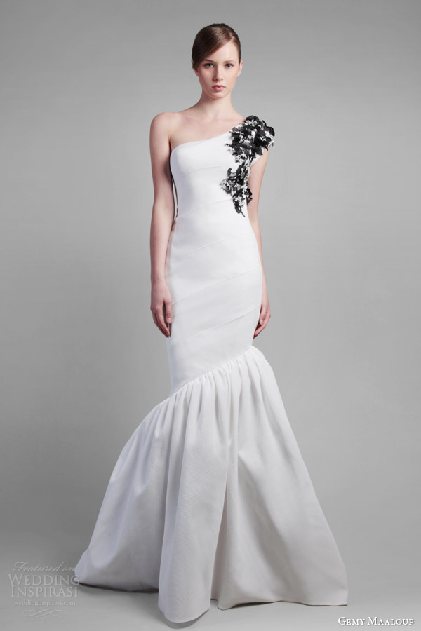 gemy maalouf spring 2014 couture one shoulder white gown