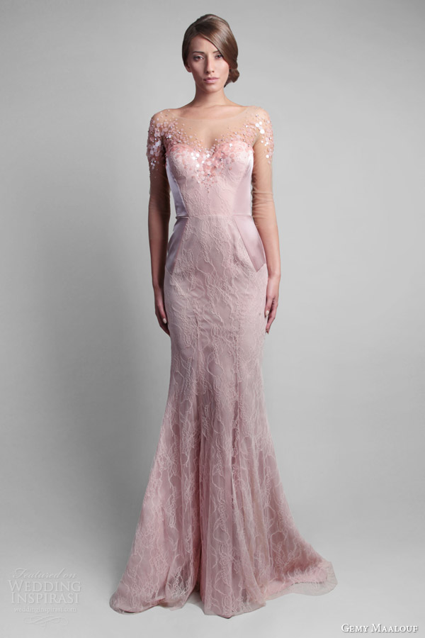 gemy maalouf spring 2014 pale pink gown illusion neckline sleeves
