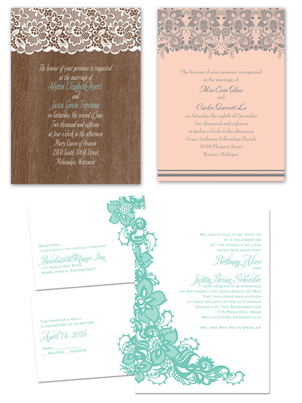 invitations by anns bridal bargains vintage theme wedding invitation card woodgrain lace romance lovely