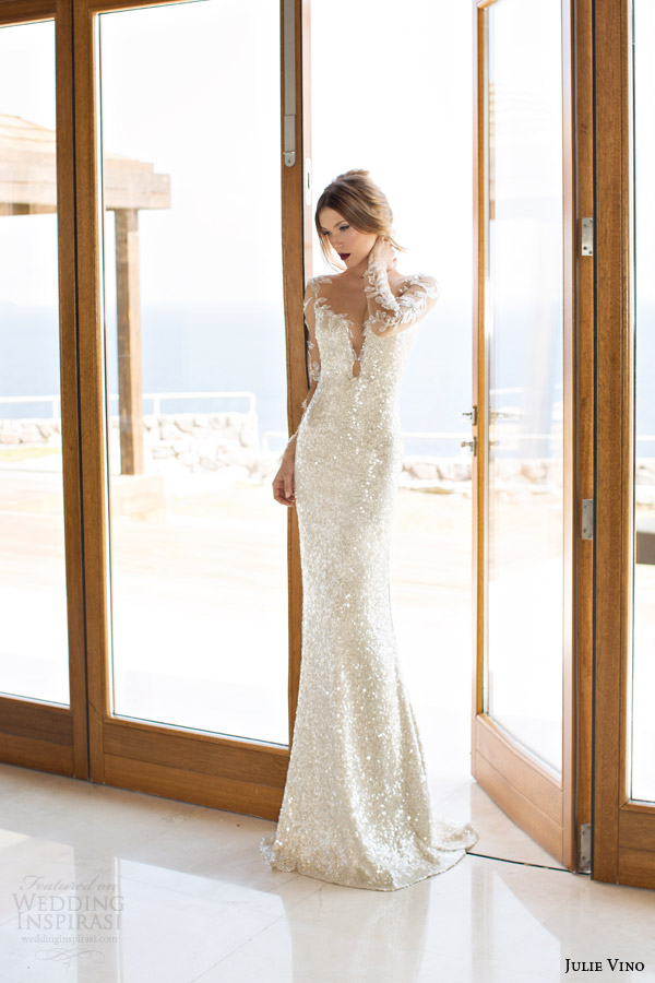 julie vino bridal spring 2014 orchid collection goldie wedding dress long sleeves