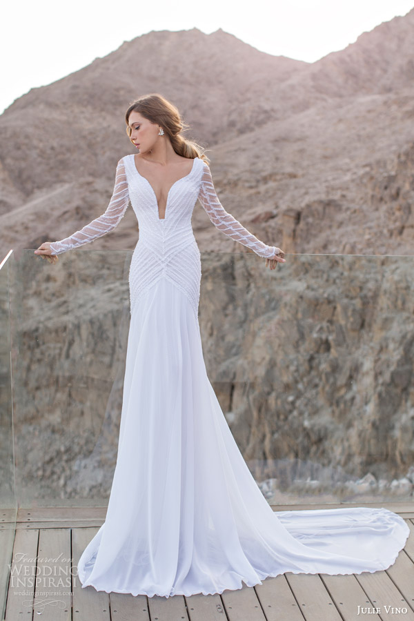 julie vino spring 2014 long sleeve sheath wedding dress