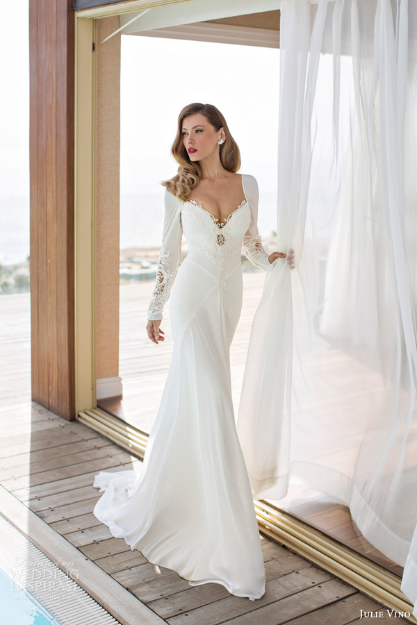 julie vino spring 2014 melanie wedding dress long sleeves