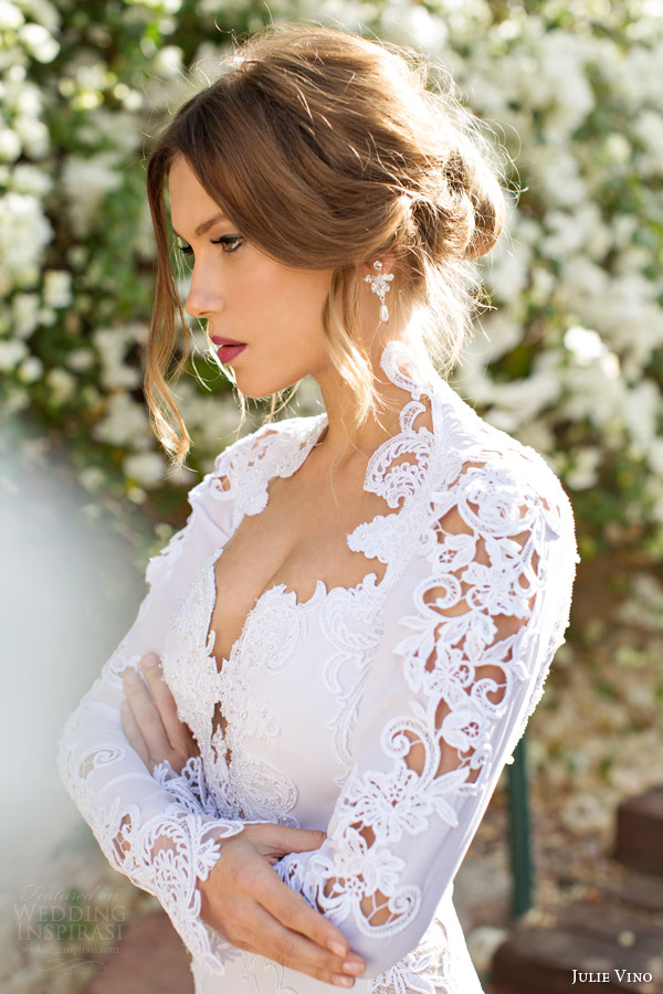 julie vino spring 2014 sharon long sleeve wedding dress close up