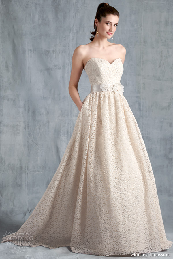 modern trousseau bridal spring 2015 edie strapless wedding dress