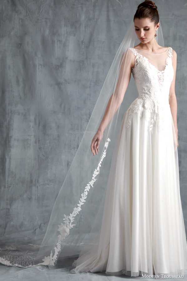 modern trousseau bridal spring 2015 faith sleeveless gown illusion neckline faith veil