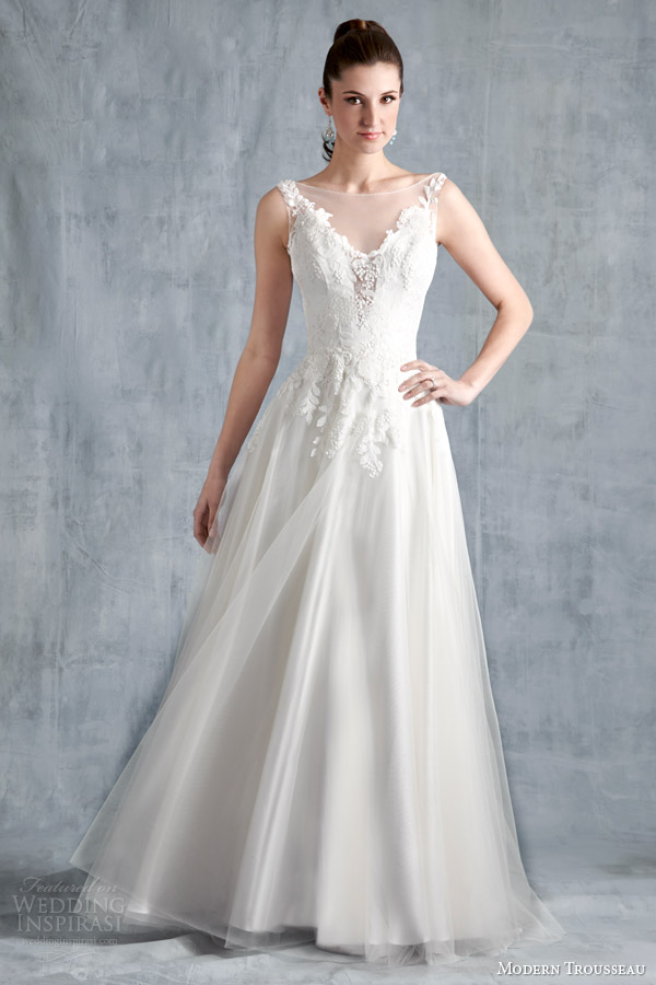 modern trousseau bridal spring 2015 faith sleeveless gown illusion neckline