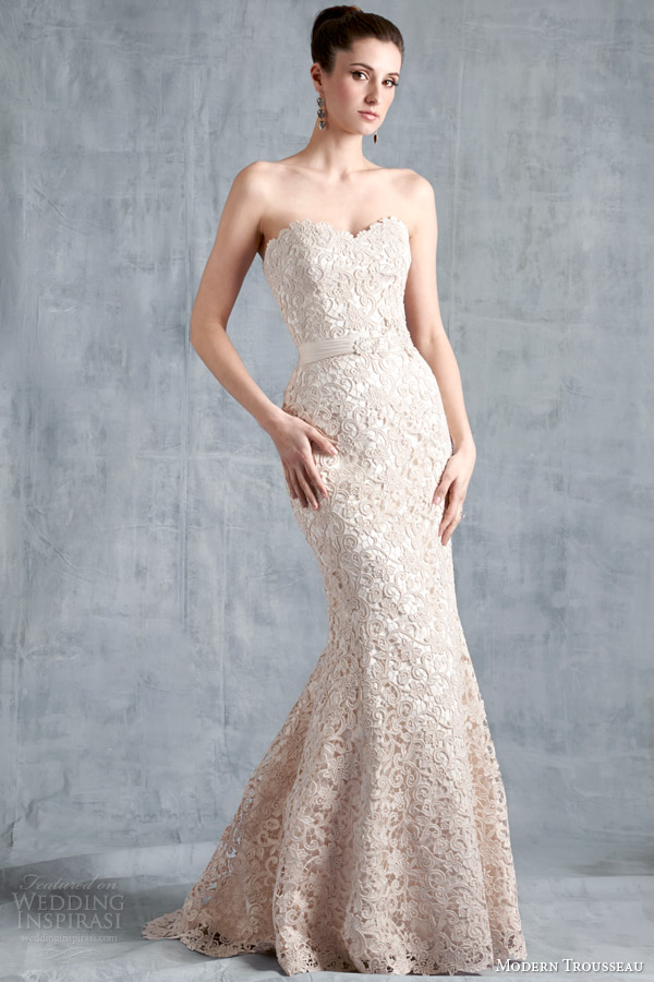 modern trousseau bridal spring 2015 scout strapless guipure lace wedding dress