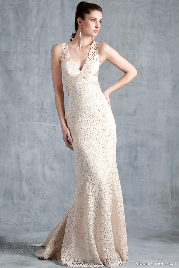 modern trousseau bridal spring 2015 tess sleeveless italian lace wedding dress