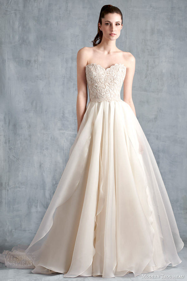 modern trousseau spring 2015 bridal fawn strapless wedding dress