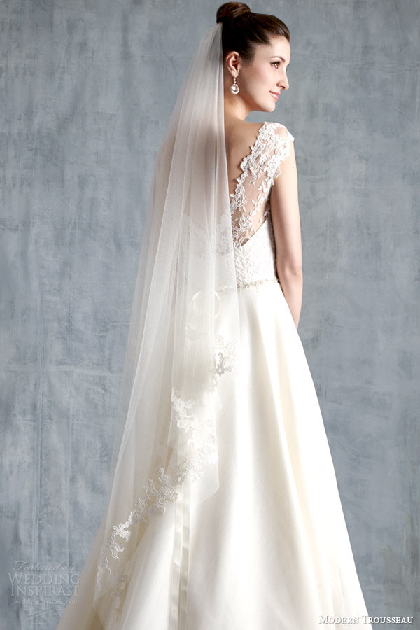 modern trousseau spring 2015 bridal mila wedding dress illusion back veil
