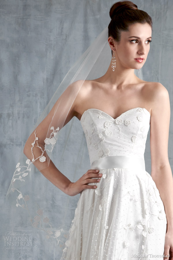 modern trousseau wedding dresses spring 2015 harmony veil strapless gown close up
