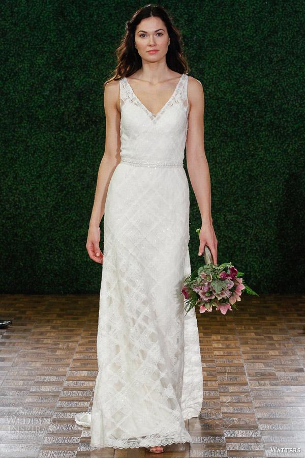 noivas Watters primavera 2015 de casamento sem mangas vestido estilo 6097b anzola